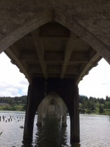 Under the Siuslaw River Bridge built in 1936 to replace the ferry service