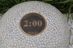 one of the time markers for the shadow off the sundial