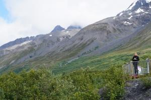 Maureen looking at Worthington Glacier