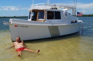 Capt Bill enjoying the crystal clear warm water